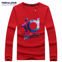 Port&Lotus Men's Shirt Long Sleeve Starry Sky KD Print T-Shirt Animation Cotton Regular Casual Male Clothing SD059