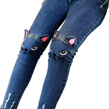 Children clothing girls legging cartoon cat jeans pants fashion pants capris autumn spring winter baby Pencil Pants Trousers(China)