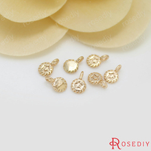 10PCS 4.5x7MM 24K Champagne Gold Color Plated Brass Small Round Star Charms High Quality Diy Jewelry Accessories