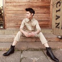 lager size men clothing Free shopping  Korean version of the influx of men overalls personalized casual costumes / M-XL
