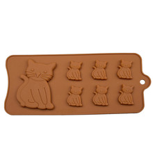 the expression of the little cat baking cookie cutter silicone chocolate cake mold silica gel ice mold animal turn sugar mold