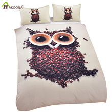 HAKOONA Polyester Bedding Set 3 Pieces/Set Coffee Beans Owl 3D Pattern Duvet Cover 2 Pillowcase White Home Textiles