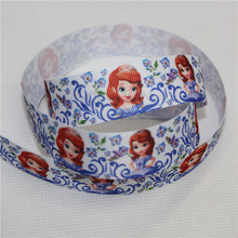 Sofia The First Princess Hair Bow 50 Yards Blue Grosgrain Ribbon Tape Lovely Little Girl DIY Cartoon Webbing Printed 25mm