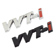 1PAIRS VVT-i VVTi Logo Chrome Silver Strip Car Fender Sticker Side Emblem Badge for TOYOTA Camry COROLLA YARiS Ralink REIZ CROWN(China)