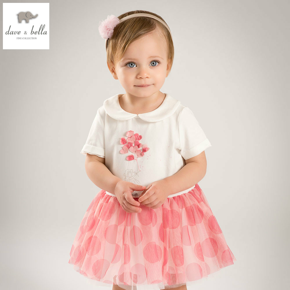 DB5280 dave bella summer baby girl princess dress baby white wedding dress kids birthday clothes dress girls Lolita dress<br>