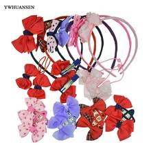 YWHUANSEN 7pcs/set Girl Hair Accessories Set Bow Knot Kid Hair Clip Hairbands Children Elastic Band Korean Hair Decorations