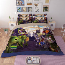 HOT SALE game theme comforter doona duvet cover queen king twin size Plants vs Zombies PVZ bedding set bed linen