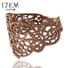 17KM Hollow Design Wholesale Jewelry Charm Faux Leather Bracelet Braided Rope Wristband Bracelets For Women(China)