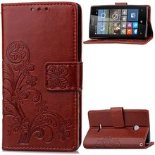 For Nokia 925 Flip Leather Cover With Stamped Flower Back Case For Microsoft Nokia Lumia 925