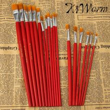 6 Or 12PCS/pack Best Promotion Flat Art Brush Set Oil Painting Brush Set Blending Size Oil Acrylic Paint School Supplies
