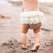 Stylish Baby Girls Clothes High Waist lovely Geometry Lace Tassels Ruffle cotton casual Bloomers summer Shorts one pieces(China)