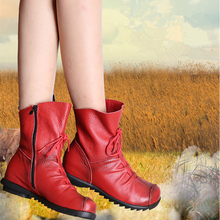 Autumn Womens Shoes Large Sizes Winter Boots 2017 Genuine Leather Flats Vintage Ankle Boots Round Zip bottines Mujer Black/Red(China)