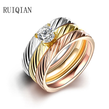 Fashion 3 Rounds Rings For Women Anel Gold Color Titanium Ring Aliancas De Casamento Em Ouro Par Bague Femme Jewellery RUIER163