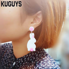 KUGUYS Acrylic Jewelry Custom Womens Cute Animal Dangle Earrings for Women Pendientes Small White Rabbit Drop Earring Brincos(China)