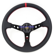 14 inch OMP Carbon Fiber Racing Steering Wheel Deep Dish Red Stitching 350mm OMP Steering Wheel()