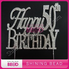 10 piece/lot,Happy Birthday 40th/50th Party Cake Topper,Happy 50th Anniversary Crystal Cake Topper,Free Shipping