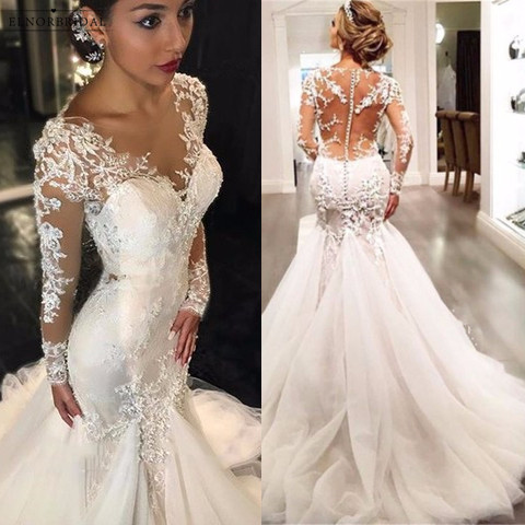 Elegant long sleeve mermaid wedding dresses 2018 sheer robe de elegant long sleeve mermaid wedding dresses 2018 sheer robe de mariee illusion back custom made bridal gowns alibaba china in wedding dresses from weddings junglespirit Images