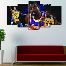 5 Pcs/Set Framed HD Printed Magic Johnson Basketball Star Picture Wall Print Poster Canvas Oil Painting Cuadros Decorativos