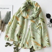 Ladies Fashion Green Leaves Tassel Viscose Shawl Scarf Travel Seaside Holiday Sunscreen Scarf Luxury Brand Wrap Foulard Hijab(China)