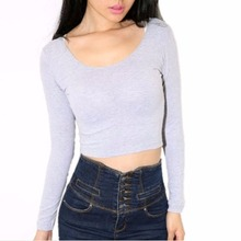 Fashion Sexy Women Crop Tops Long Sleeve Hot Clubwear Tops Cropped T-shirt 7949(China)