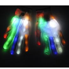 1Pair LED Luminous Gloves Flashing Glow Cool Light Finger Gloves for Halloween Glow Party Supplies 2017