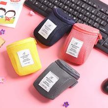 Portable Case for headphones case Mini Zippered Round Storage Hard Bag Headset SD TF Cards Earphone Bag #45(China)