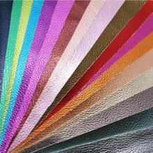 21x29cm  Artificial Leather, Synthetic Leather, Faux Pu Leather Fabric with Pearlized Metallic Colors Embossed Litchi  SK23