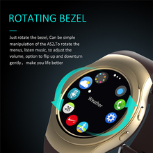 Rotating Bezel Clock Full Round Screen Smart Watches AS2 Bluetooth Smartwatch With Heart Rate Monitor For IOS Android PK G3 KW18(China)
