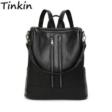 Tinkin PU leather Women Backpack Simple Casual Schoolbag Medium Size Daypack Girl's Daily Bag Vintage Mochila Casual Rucksack(China)