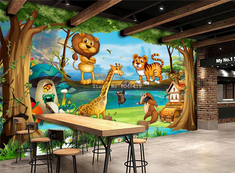 HTB1QjdRRFXXXXX apXXq6xXFXXXO - 3D Wall Murals Beautiful Cartoon Forest Animal World Photo Wallpaper For Children Room Papier Peint Enfant Eco-Friendly Frescoes