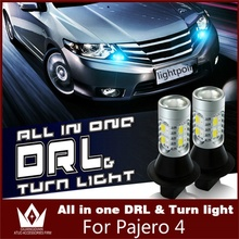 Tcart 2x car accessories daytime running lights with turn signal light DRL auto led bulbs T20 WY21W 7440 For Mitsubishi Pajero 4(China)