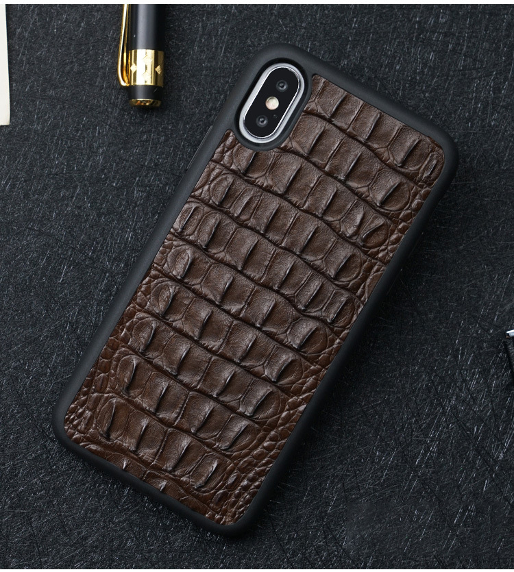 Handmade Genuine Crocodile Back Leather Cover Case For Iphone 6 7 8 6S Plus Xs Max Xr Luxury Handmade Croco Case For Iphone X 6S Plus 7 8