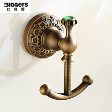 Free shipping European luxury antique bronze double coat hook brass bathroom robe hooks hanger(China)
