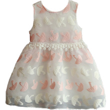 DZIECKO Toddler Baby Girls Dresses Summer 2017 Tutu Embroidery Umbrella Print Lace Appliques Waist Children Girls Clothing