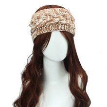 Fashion Winter Warm Women Headband Variegated Knitting Flower Headwrap Stretchy Warmer Hairband Girl Hair Accessories Headdress