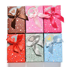 1Pc Jewelry Box Boite Bijoux Bowknot Heart Print Paper Storage Packing Gift Display Box for Necklace Ring Earring 6 Colors