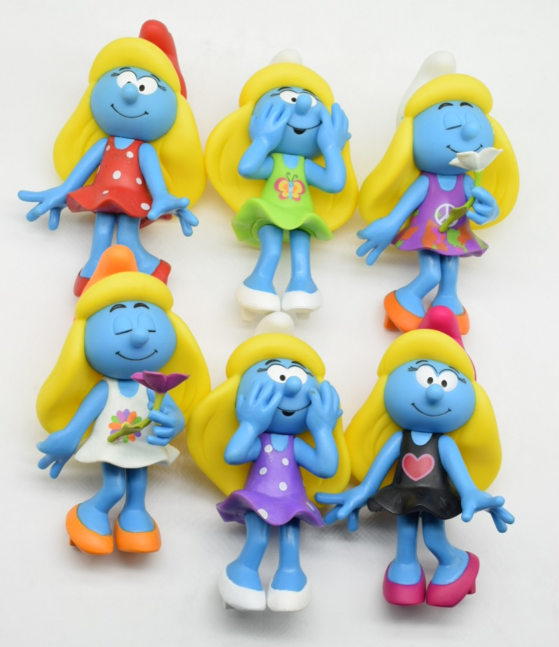 High quality The Elves Papa Smurfette Clumsy Figures Elves Papa Action Toys Birthday gift toys for children 6 pcs/set 13cm<br>