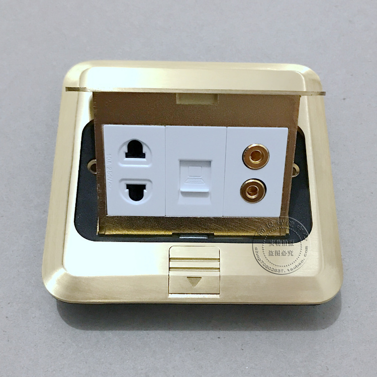 Pop-up Floor Socket RJ45 Cat5e &amp; Dual Computer Audio &amp; Two Hole Power Panel Ground Outlet Socket Receptacle<br>