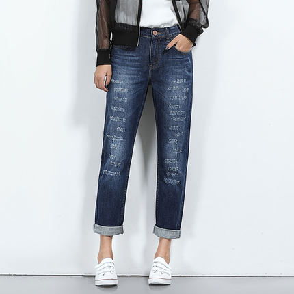 2017 Button Zipper Fly Womens Plus Size Boyfriend Jeans For Women Broken Frayed Jeans Full Length Washed Denim JeansÎäåæäà è àêñåññóàðû<br><br>