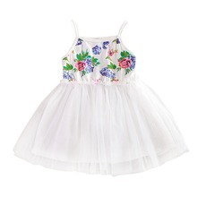 Baby Kid Girls Floral Dress Tulle Braces Tutu Dress Sundress Yellow White
