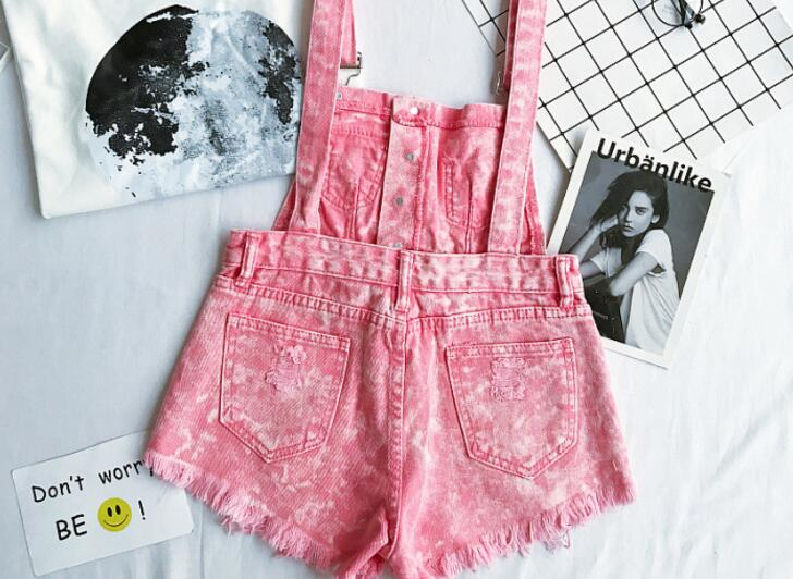 New Collection Summer Korean Loose Women Denim Jumpsuit High-waisted Ripped Hole Wavy Edge Jumpsuit Fashionable Suspenders Pants10