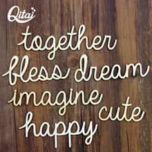 QITAI 24Pcs/Set Wooden Words In Large Size Cute Happy Together Home Decoration Letters Wood Crafts Table/Door Decorations WF248(China)