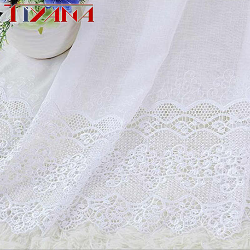 European Luxury  Crochet Lace White Curtains For Living Room Bedroom High Quality Lace Tulle Curtains Ready Made Curtain HX&3