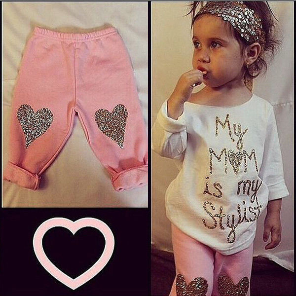 0-5Y Baby Girls Kids Clothes Stylish Top T-Shirt + Pants Trousers Outfits Sets<br><br>Aliexpress