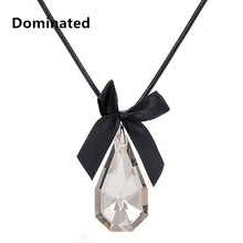 Dominated Women Pendant Necklaces Trapezoid Crystal Fashion Butterfly Knot Sweater Chain Decoration Pendant Long Sweater(China)
