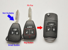 New Modified Flip Folding Remote Key Shell Case For Chrysler 300C Sebring Jeep Compass Wrangler 3 Button Fob Key Cover