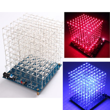 3D Light Squared 8x8x8 LED Cube 3D8 Light Cube PCB Board Blue Ray Red Ray DIY Kit 3mm STC12C5A60S2 ULN2803 74HC573 /Junior