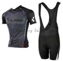 High Quality,CUBE 2015 #2 black short sleeve cycling jersey bib shorts set clothes jersey pants,gel pad,Quick-dry!