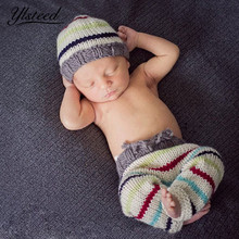 Crochet knit baby hat pants set stripe infant photo outfits newborn photography props baby boy cap photography accessories(China)