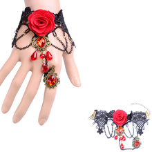 Women Bracelet KUNIU Lace Bangle Pearl Gothic Lolita Bracelet Rose Slave Charm Beads Spider Butterfly